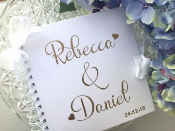 Personalised Wedding Guest Book Gold